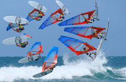 Time lapse of windsurfing jumping. The windsurfing is doing the high jumping forward loop during training in the ocean royalty free stock photography