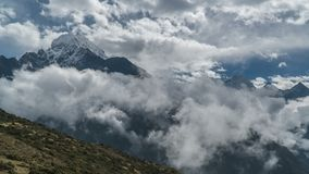 The clouds move in the Himalayan peaks stock video