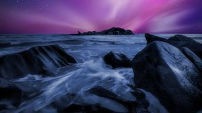 Time Lapsed Photo of Sea During Night Time Royalty Free Stock Images