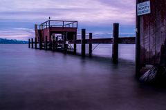 Time-lapsed Photography of Body Water With Red Stall Royalty Free Stock Photo