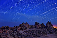 Time Lapsed Star Trails at the Alabama Hills in California Royalty Free Stock Image