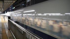 Time-lapseDeparture of bullet train from Shin Yokohama station. Kanagawa,Japan-May 2, 2018:time-lapse, double speed Departure of bullet train from Shin Yokohama stock video footage