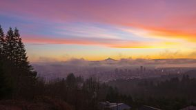 Time Laspe of thick rolling fog and clouds over Portland Oregon and mt. hood at Sunrise one Winter Morning. UHD Time Laspe movie of thick rolling fog and low stock video