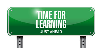 Time for learning road sign illustration. Design over white Royalty Free Stock Images