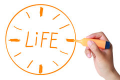 Time life concept. Hand with marker drawing Time life concept Royalty Free Stock Photo