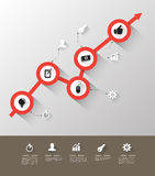 Time line graph with icons Royalty Free Stock Photography