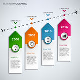 Time line info graphic with colored design arrows template stock illustration