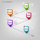 Time line info graphic with colored design pointers template Stock Photography