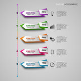 Time line info graphic with colored folded design pointers template Stock Photo