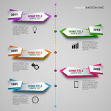 Time line info graphic with colored folded pointers template Royalty Free Stock Image