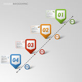 Time line info graphic colored pointer template Royalty Free Stock Photos