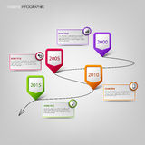 Time line info graphic with colored pointers background Stock Image