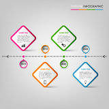 Time line info graphic with colored pointers design element Stock Photography