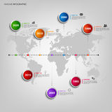 Time line info graphic with colored pointers and world map Stock Photo