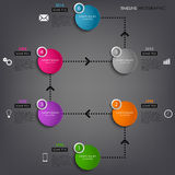 Time line info graphic colored round element template Stock Images