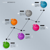 Time line info graphic colored round template Royalty Free Stock Image