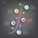 Time line info graphic with colored rounds design template Stock Photos