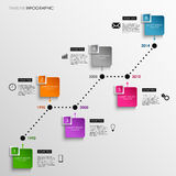 Time line info graphic colored square template Stock Photography