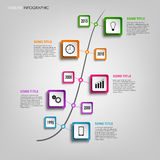 Time line info graphic with colored squares design template Royalty Free Stock Photos