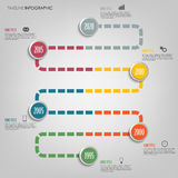 Time line info graphic with colored tortuous direction template Royalty Free Stock Photos
