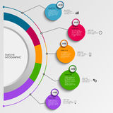 Time line info graphic with design colorful circles template Stock Photography