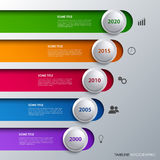 Time line info graphic with design stripes and bubbles Stock Photo