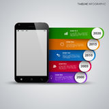 Time line info graphic with mobile phone and colored stripes Royalty Free Stock Photos