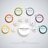 Time line info graphic with round design labels template. Vector eps 10 Royalty Free Stock Photos