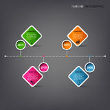 Time line info graphic with square design element template. Vector eps 10 Vector Illustration