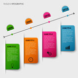 Time line info graphic with tucked colorful labels template Royalty Free Stock Photo