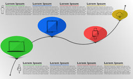 Time line infographic, infographics, bubble infographic, male and female, text infographic, Royalty Free Stock Photos