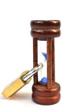 Time lock on hourglass Stock Image