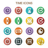 Time long shadow icons Royalty Free Stock Photo