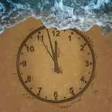 Time Loss Concept. Time loss schedule management  lifestyle stress deadline and deadline management for family and a financial date as a clock drawn on sand Royalty Free Stock Photo