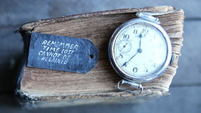 Time lost cannot be regained text stock video footage