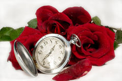 Time of Love. Antique pocket watch and red rose buds and petals with drops of water (symbolizing Time of Love Stock Photo