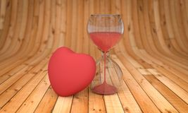 Time and Love ,hourglass and heart 3D rendering Stock Photo