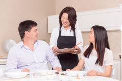 Time for lunch in Asian family Stock Images