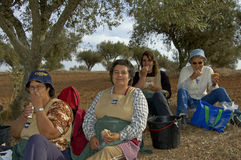Time for a lunch break. Alentejo, Portugal, 26-September-2007: Four women taking a break from their hard work at the wine plantation to eat some lunch in Royalty Free Stock Image