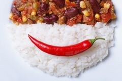 Time for lunch: chili con carne and rice Royalty Free Stock Photos