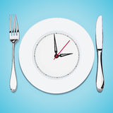 The time lunch, cutlery, dish knife and fork Stock Photos
