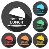 Time For Lunch icons set with long shadow Royalty Free Stock Photos