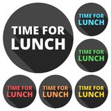 Time For Lunch icons set with long shadow Royalty Free Stock Photography