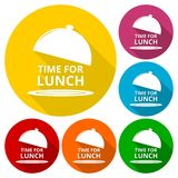 Time For Lunch icons set with long shadow Stock Images