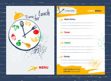 Time for lunch. Menu design element for  cafe, restaurant, bar.F Royalty Free Stock Photos