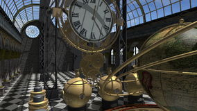Time machine animated in Steam Punk style 4K stock footage