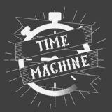 Time machine logo. Clock on a black background. Stopwatch vintage logo. Stopwatch with ribbon banner isolated on black background stock illustration