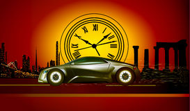 Of the time machine runs to the sunset Stock Photo