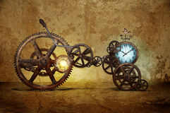 Time machine. A steam punk inspired time machine with glowing engine and clock. Weather vane to find direction. Machine is made of multiple gears and chains royalty free stock photos