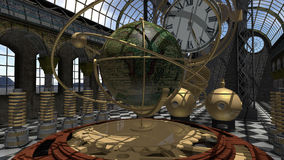 Time machine in Steam Punk style. An image of a time machine in Victorian style. The 3D illustration has a clock and an old world globe in a baroque wrought royalty free illustration